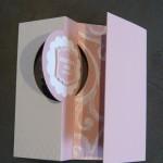 Flip-Flop-Karte elegant rosa weiß mit Prägung und Embossing
