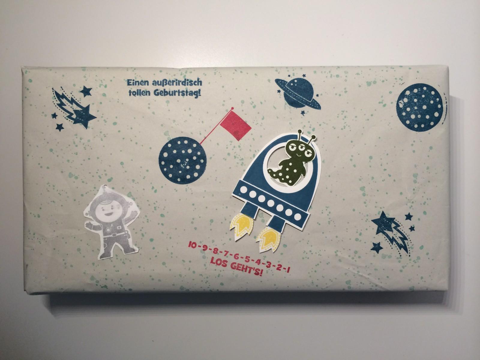 Geschenverpackung Stempelset für kleine Astronauten oder Outer Space.