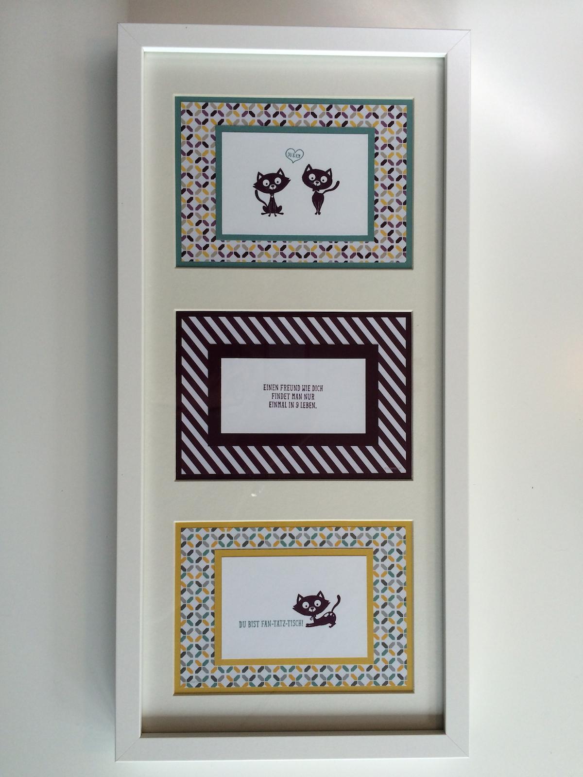 Drei Bilder ein Rahmen, Stempelset Poesie auf vier Pfoten, Designpapier Mondschein, Cardstock In Color 2014-2016