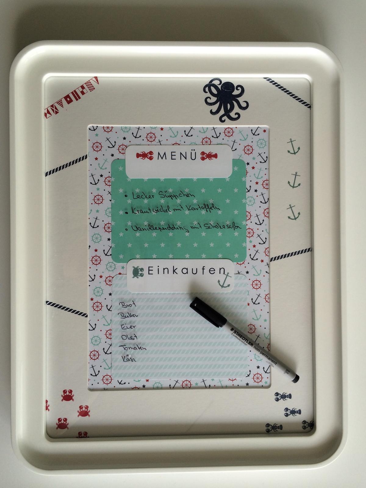 Memo-Board, Stempelset Sea Street, Designpapier Maritime Muster, Stempelfarbe Glutrot und Marineblau