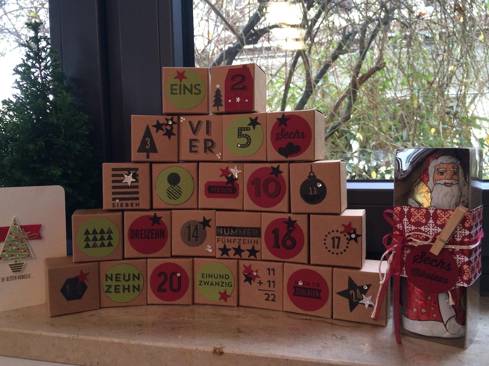 Adventkalender von Stampin up in Chili und Olivgrün