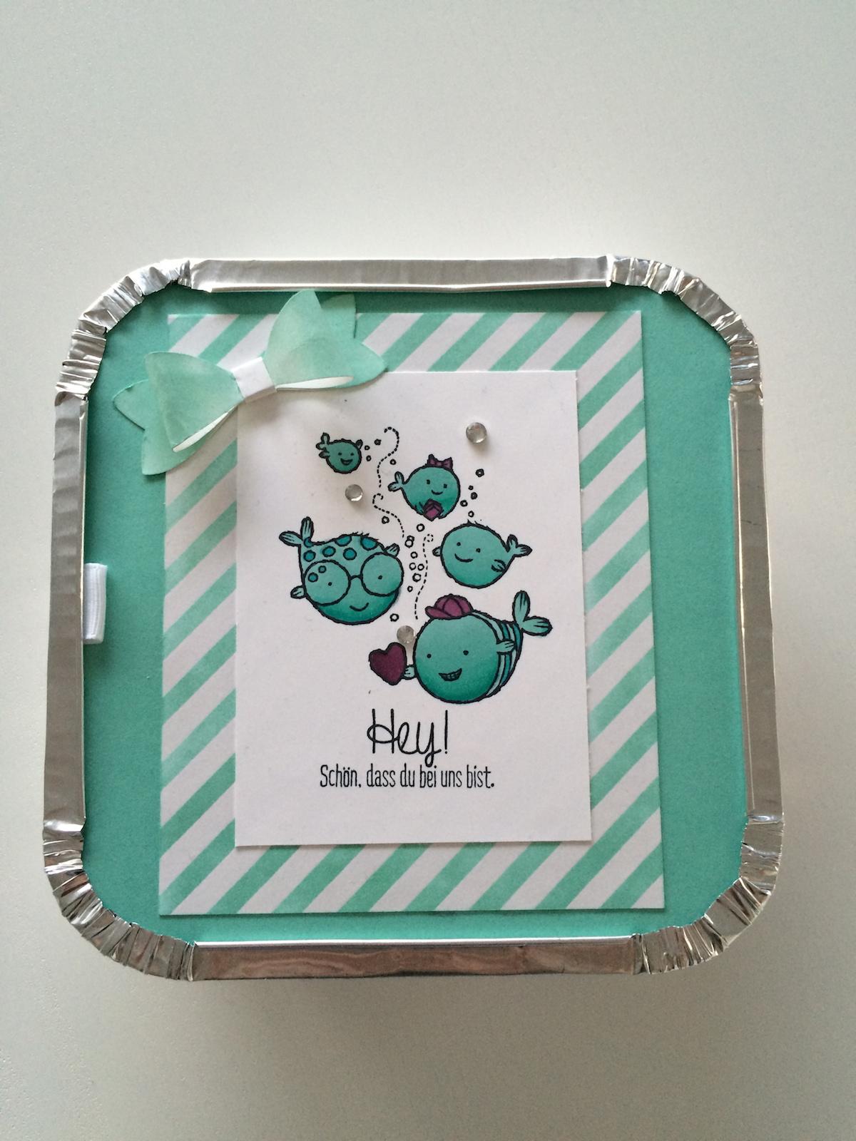 Ein echter Schatz Geschenkebox in Jade mit Schleife Elementstanze Schleife Hintergrund Designpapier Zauberhaft, Stampin´up Mix-Marker Jade