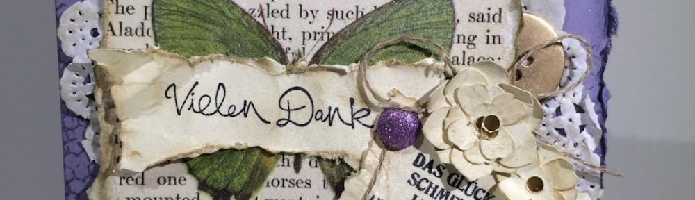 Stampin up Schmetterlingsgruß Butterfly Basics Karte Card Blauregen Wisteria Wonder BoBunny enchanted garden
