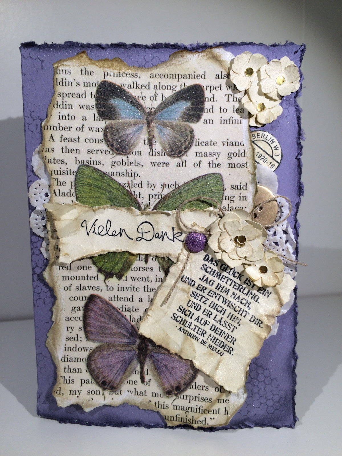 Stampin up Schmetterlingsgruß Butterfly Basics Karte Card Blauregen Wisteria Wonder BoBunny enchanted garden