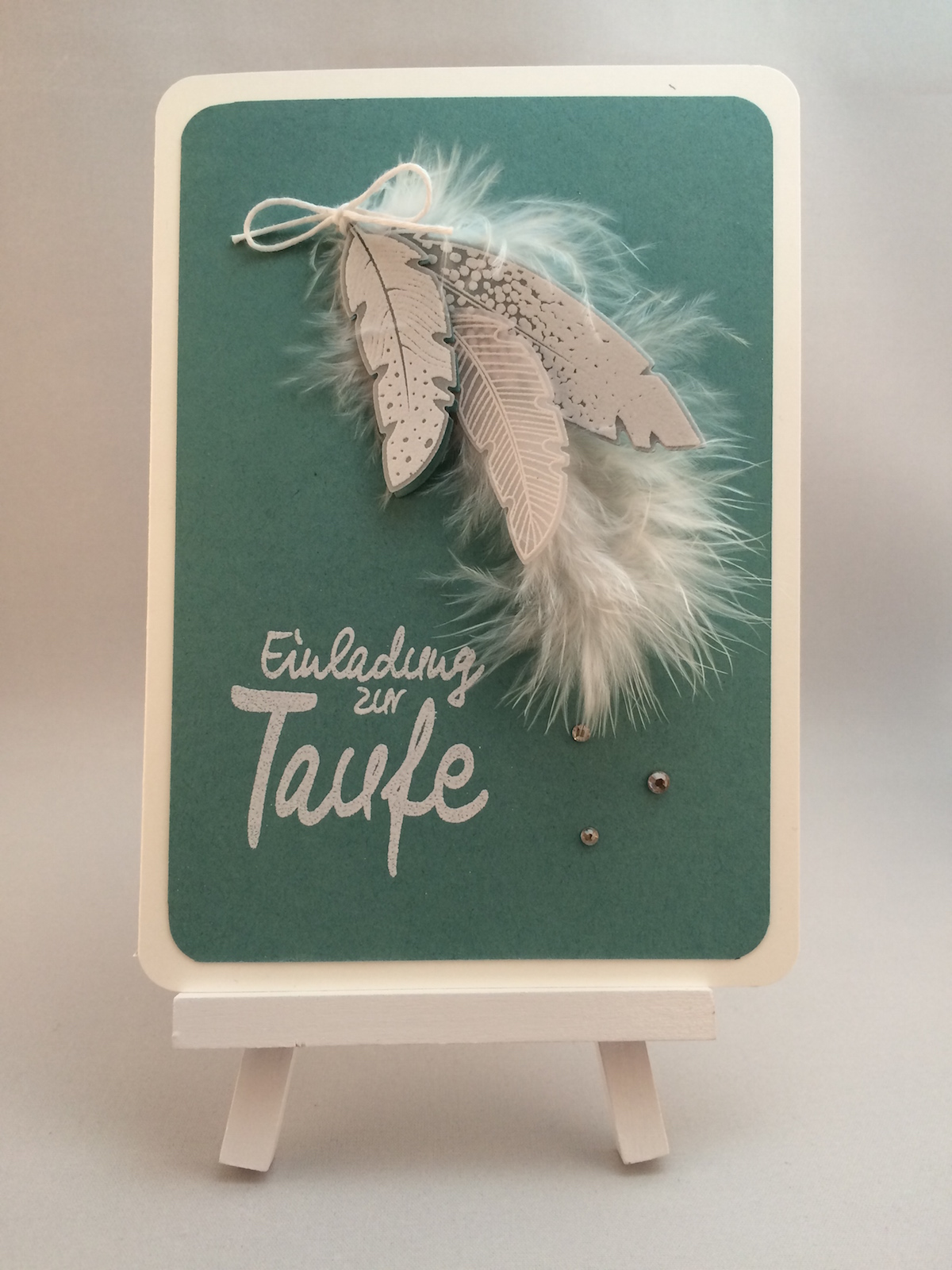 Stampin up Taufe Einladung Four Feathers Baptism Invitation card | FrauPfiffig