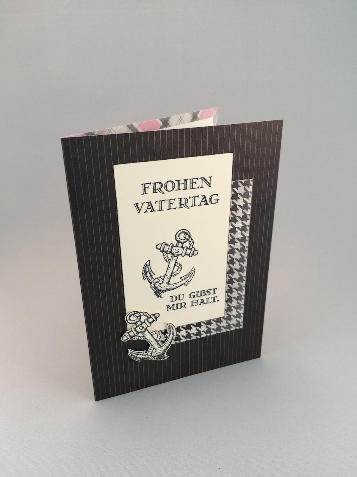 Karte Vatertag, Card Fathers day, Für ganze Kerle, Guy greetings, You´re my anchor, Du gibst mir halt, schwarz, black, vanille, very vanilla