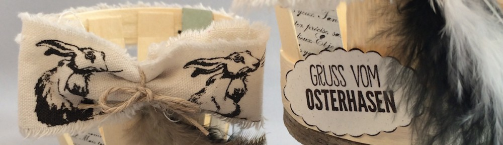 Osterkörbchen, Osterhasenband, Naturlook