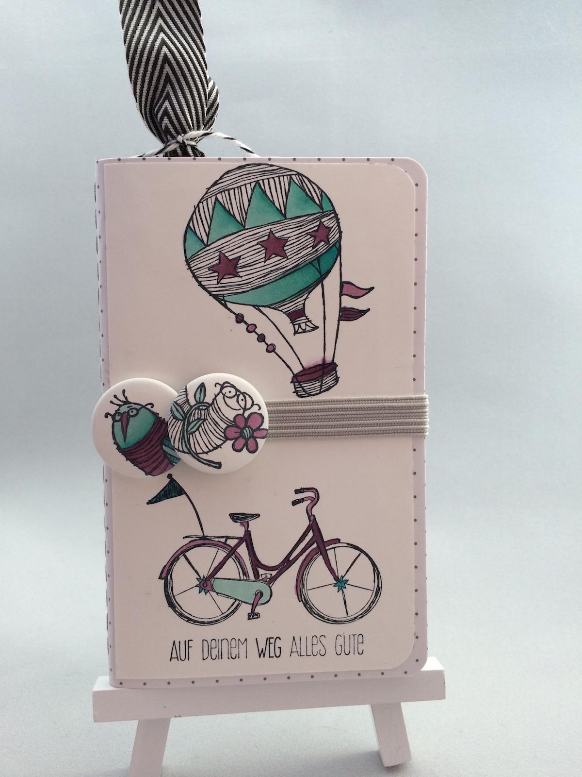 stampin up, kleines Notizbuch, little notebook, Hostess Stamps, Life´s Adventure, Gastgeberinnen Stempelset, Für alle Lebenslagen, Gruß von mir, Time to celebrate