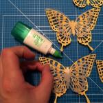 Schmetterlinge vorbereiten und zusammenkleben Stampin´UP!,Schmetterlings-Girlande, Butterfly Garland, Butterfly Thinlits, Thinlits Schmetterlinge