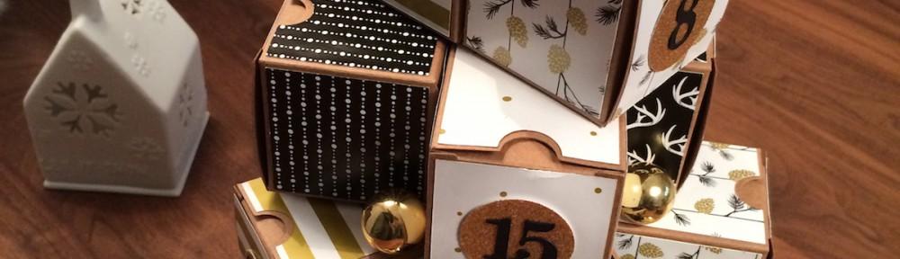 Stampin´UP!, Adventskalender, Mini-Geschenkeschachteln, Tiny Treat Boxes,Designerpapier Zauberwald,Winter Wonderland Specialty Designer Series,Paper,schwarz,gold,black,1