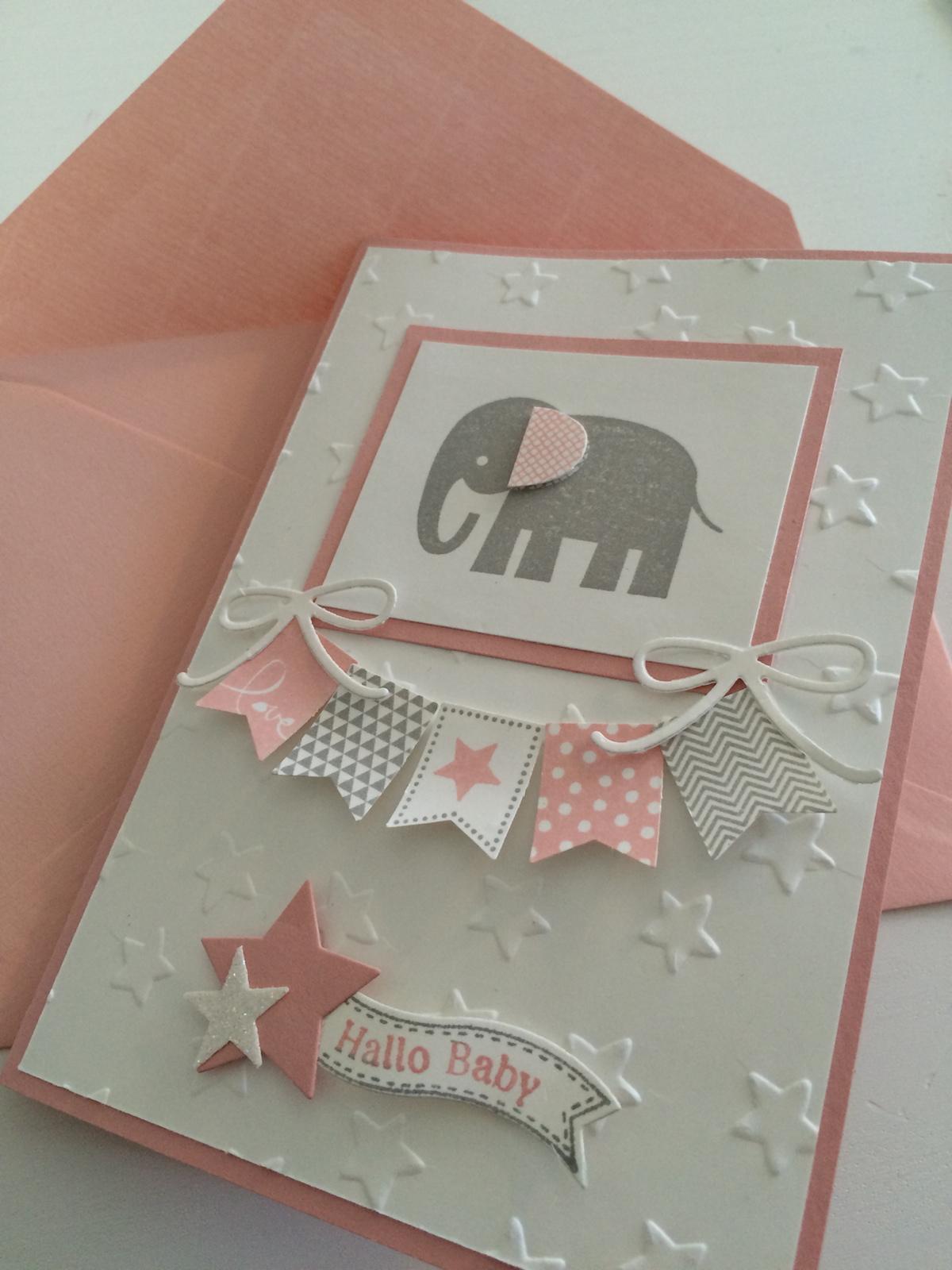 Stampin up Babykarte für Mädchen Stempelset Zoo Babies in Kischblüte