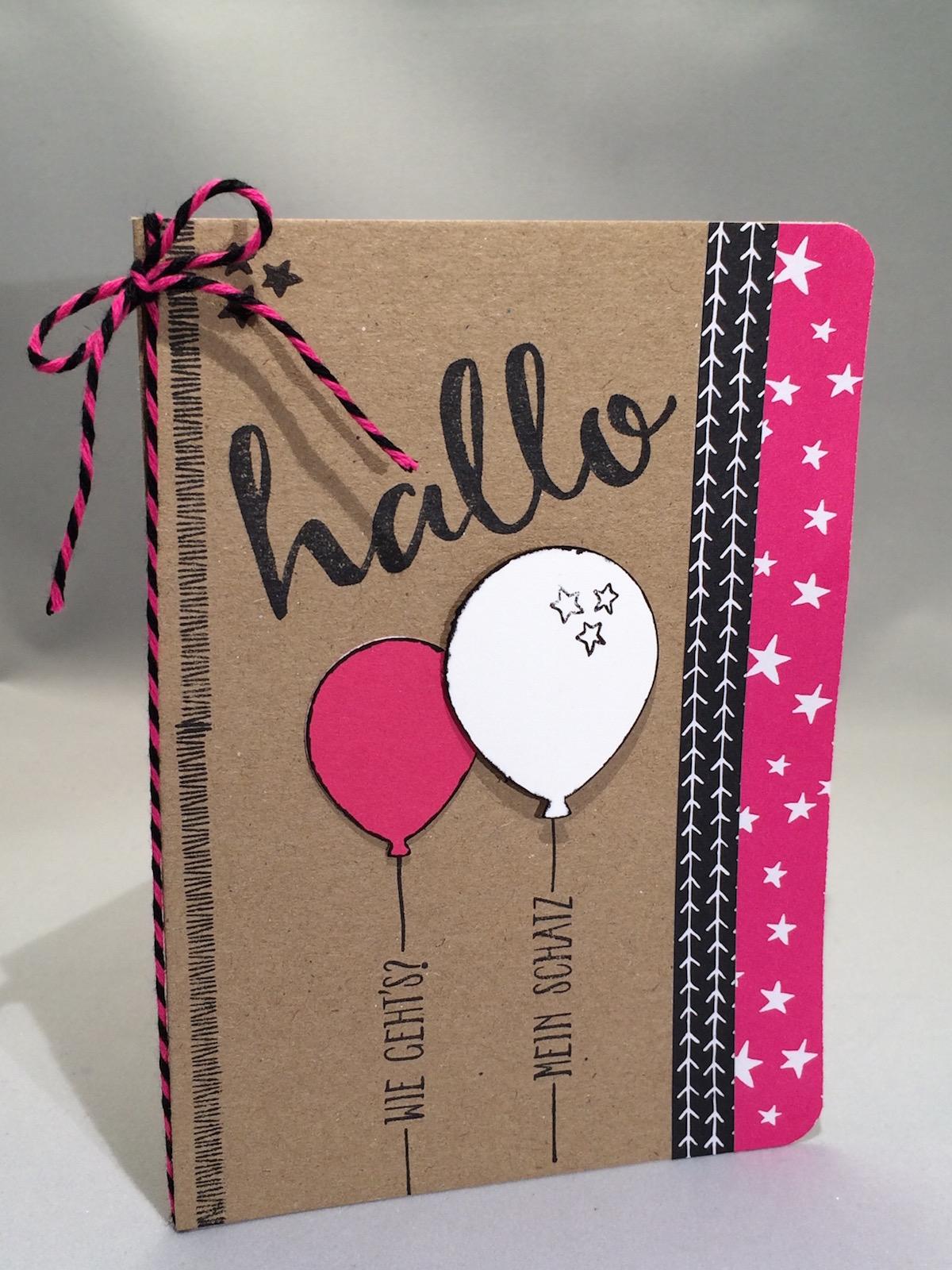 """Stampin up Grußkarte mit Stempelset """"Hallo"""" aus der Sale-a-Bration 2016 mit Stanze Luftballons und Meine Party Designpapier"""