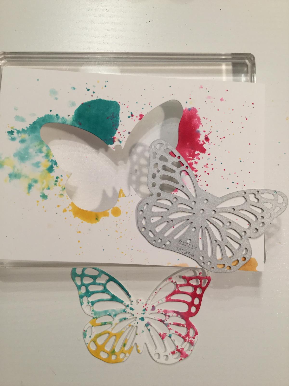 Aquarelltechnik mit Stempelfarbe und Stampin´Mist