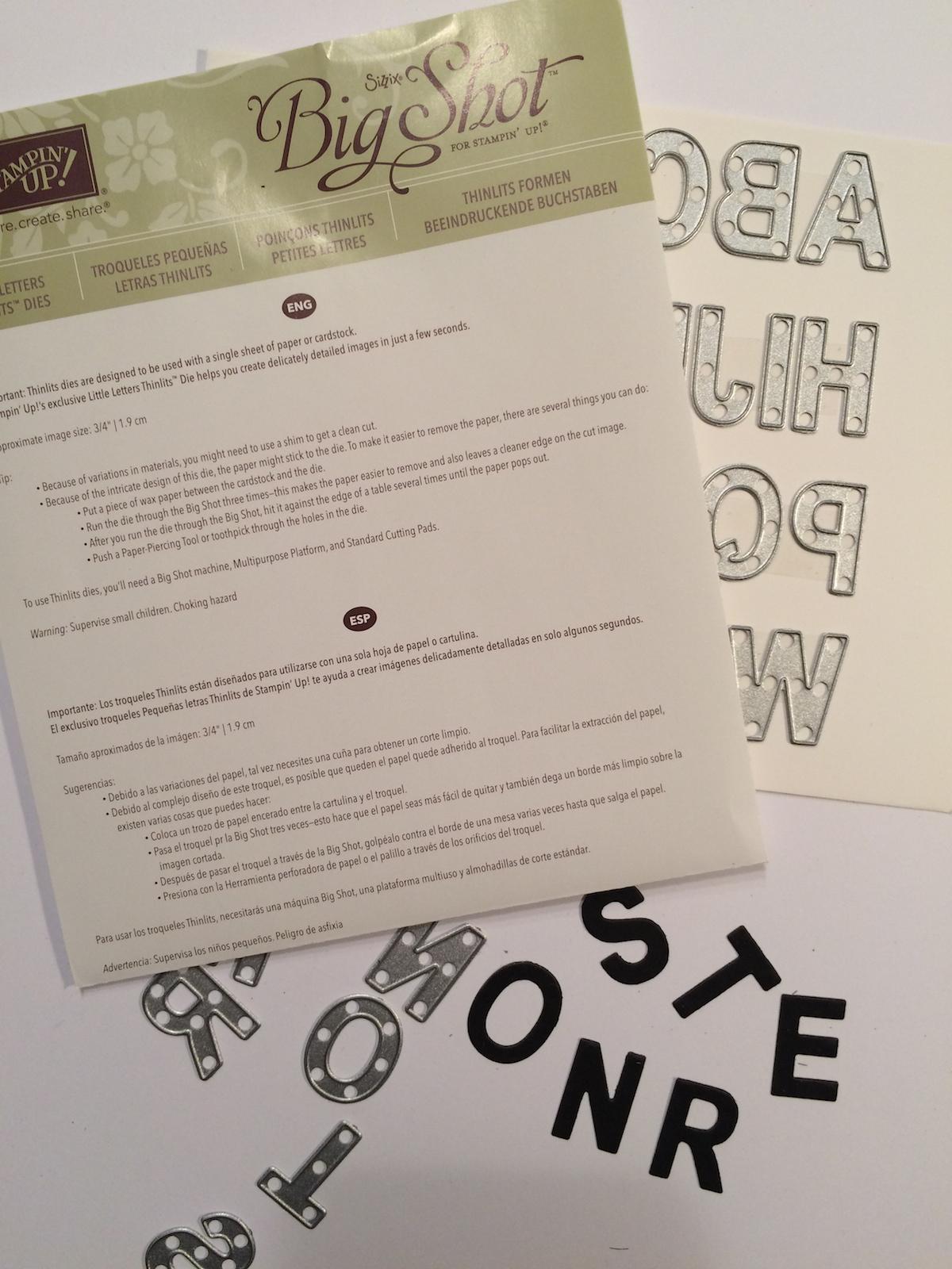 Stampin up Buchstaben ausstanzen