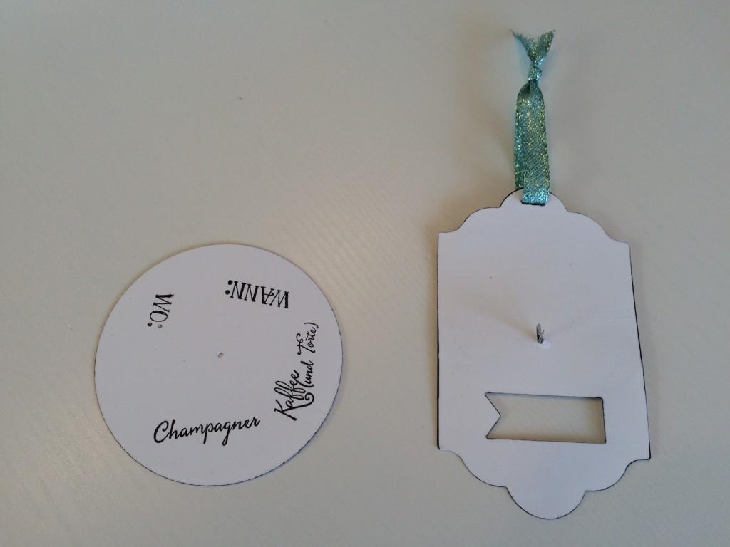 Stampin up Drehkarte Einladung mit Party Ballons in schwarz und Aquamarin die einzelnen Teile
