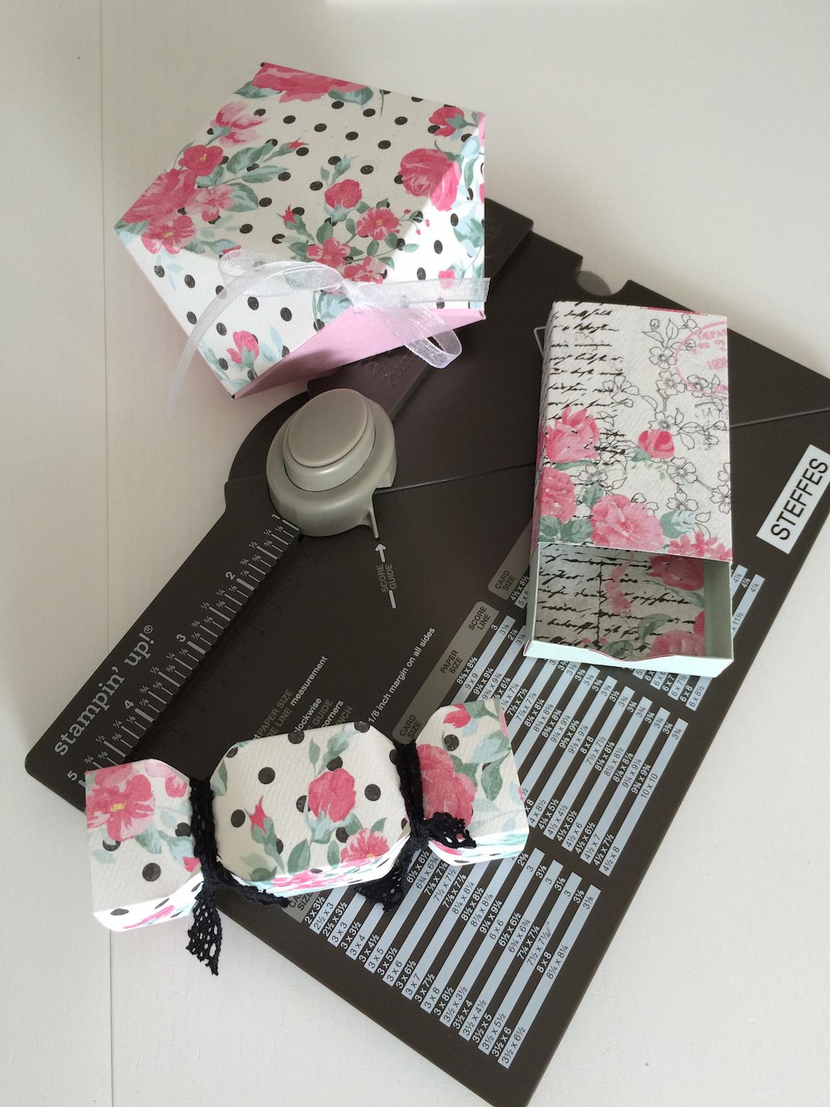 Frau Pfiffig, Matchbox, Knallbonbon und Diamantbox, EPB, Envelope Punch Board, Stanz- und Falzbrett für Umschläge