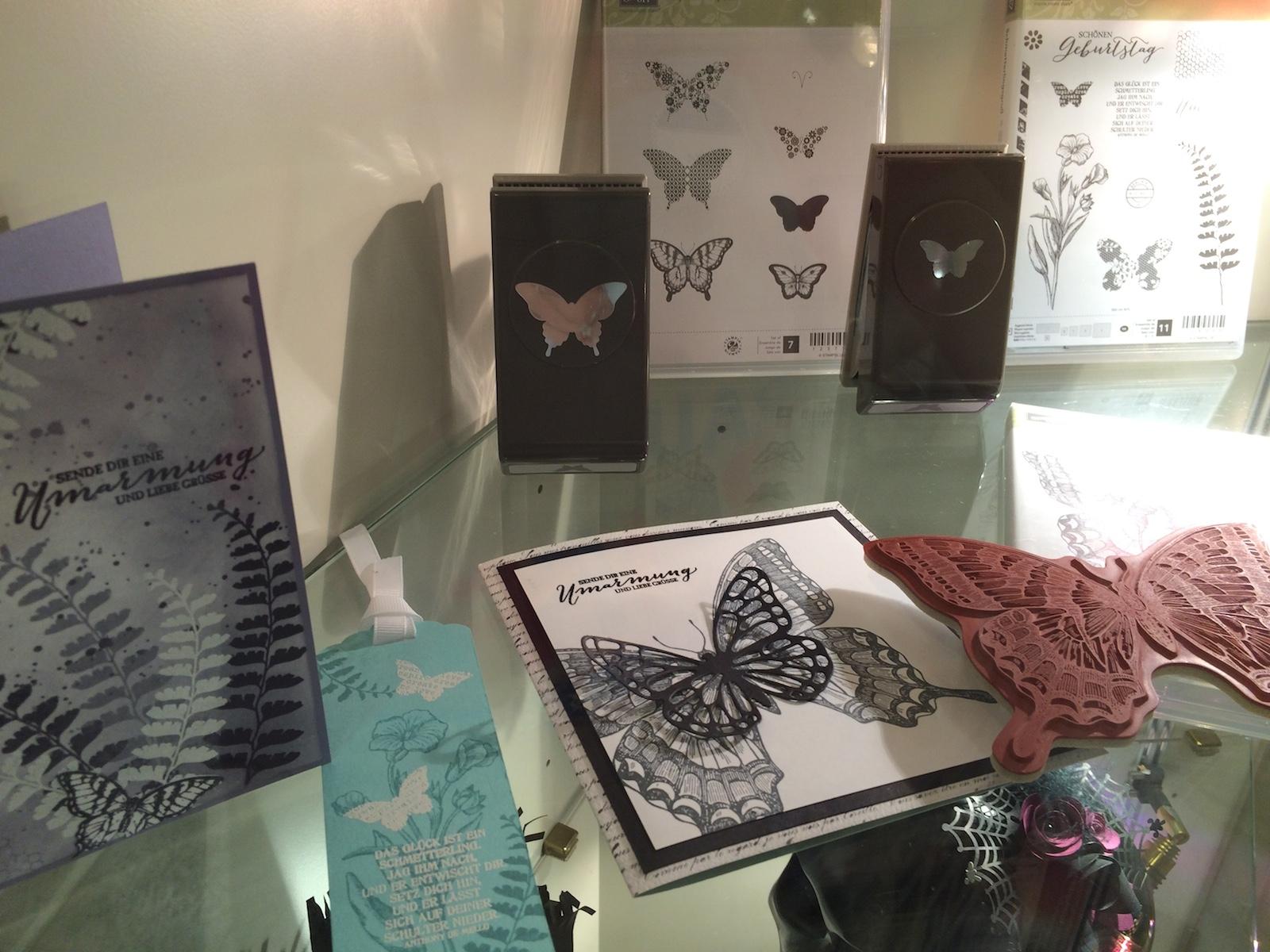 Schaukasten Stempelset von Stampin´UP! Schmetterlinge mit Muster