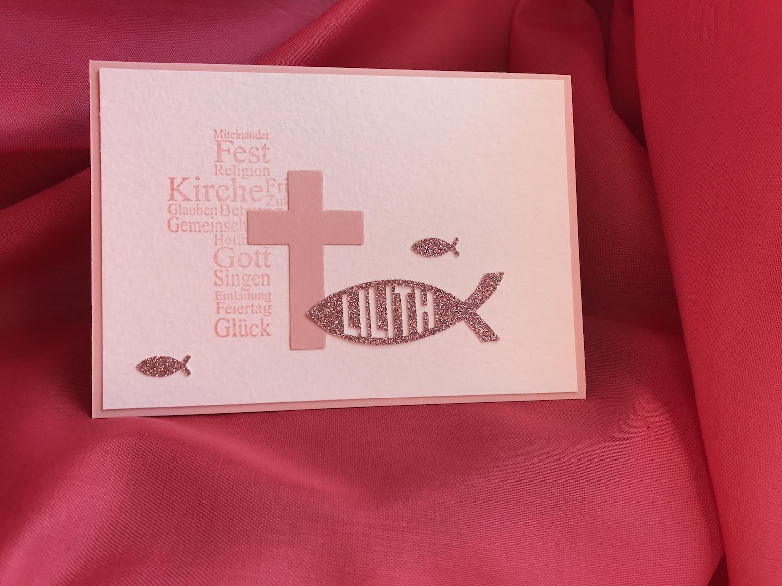 Karte,Taufe,Mädchen,Fisch,Kirschblüte